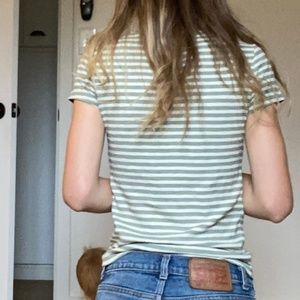 Madewell green and white striped tee shirt xs